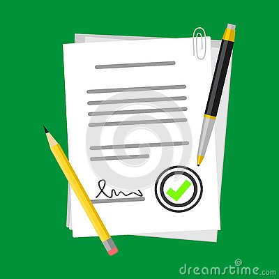 Positive Contract Vector Illustration on Paper Form Symbol With Pencil or Pen, Flat Icon Success Sign