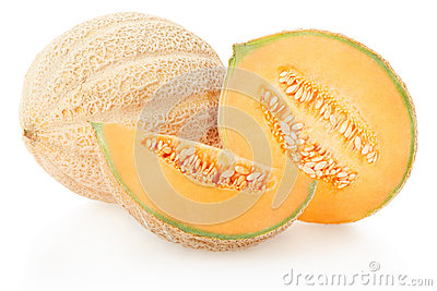 Cantaloupe melons group on white