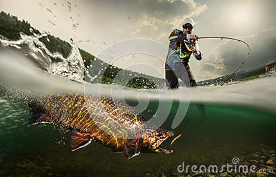 Fishing. Fisherman and trout