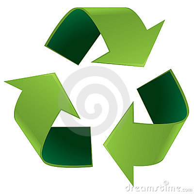 Glossy recycle symbol