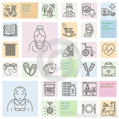 Modern vector line icon of senior and elderly care. Nursing home elements - old people, wheelchair, leisure, hospital call button,