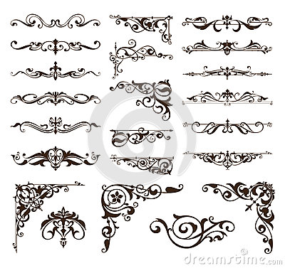 Art deco design elements of vintage ornaments and borders corners of the frame