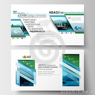 Business templates in HD format for presentation slides. Flat design blue color travel decoration layout, easy editable
