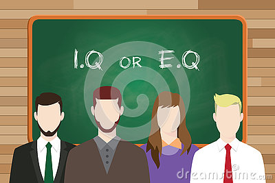 Iq or eq intellectual or vs emotional question compare write on the board in front of business man and business woman
