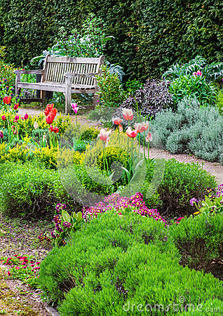 English garden with a walk path leading to empty bench