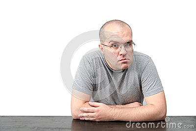 Man with strange face expression isolated on white background