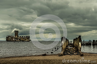 Ruins of Old Torpedownia Hexengrund on Baltic Sea in Babie Doly, Gdynia, Poland