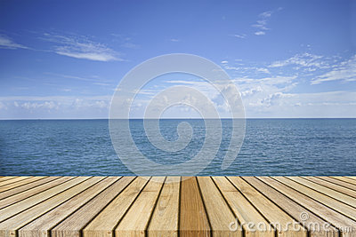 Empty top wooden decking and beautiful peace sea in background,rest moment,time to rest,chill out.