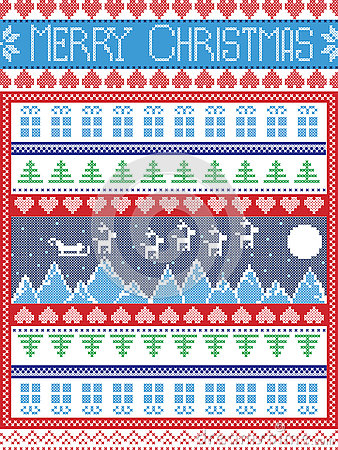 Christmas  festive winter seamless pattern in cross stitch with Xmas trees, snowflakes, Reindeer, Mountains,  Sleigh, moon, sky
