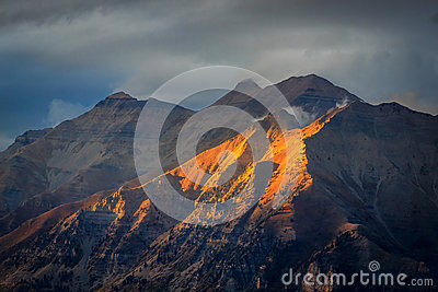 Fall sunlight landscape in the Wasatch Mountains.