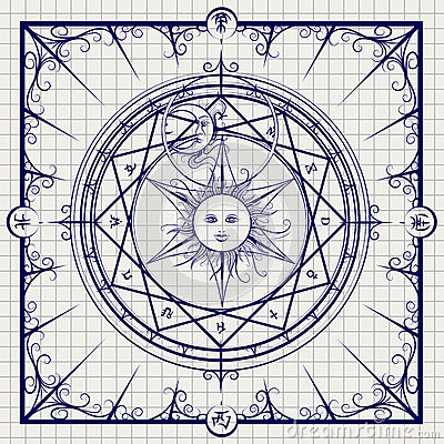 Alchemy magic circle on notebook background