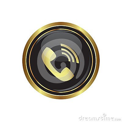 Telephone receiver icon on the black with gold round button