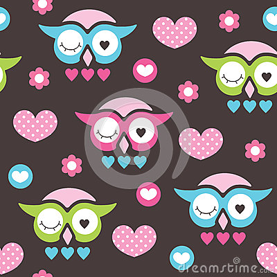 Seamless owl love and flower pattern vector illustration