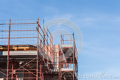 House and scaffolding