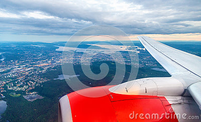 View of Oslo from an airplane on the approach to Gardermoen Airport