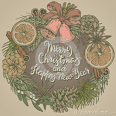 Merry Christmas and Happy New Year greeting card with wreath