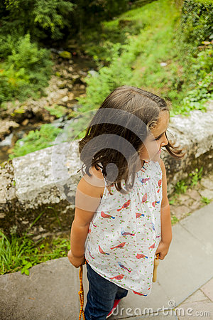 Smiling girl at the lakes in Covadonga, Asturias