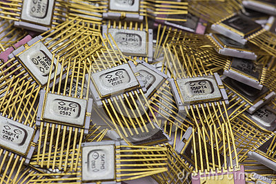 Vintage microchip, military electronics, goldplated