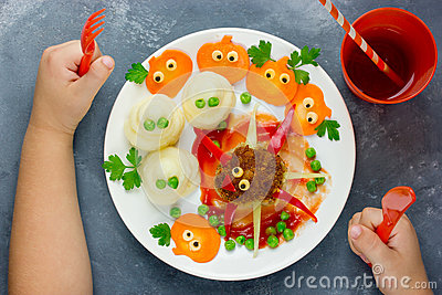 Creative idea for baby dinner or lunch. Funny spider meatball wi