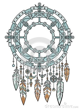 Talisman metal dreamcatcher with feathers.