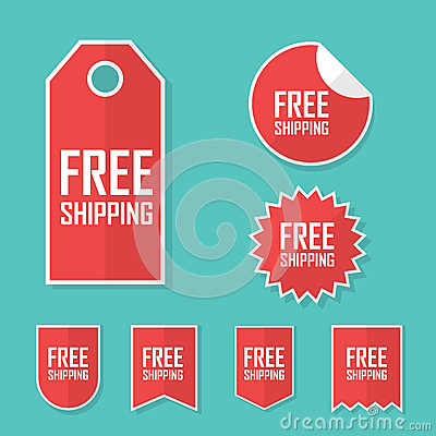 Free shipping sticker. Transport cost delivery no charge. Modern flat design, red color tag. Advertising promotional