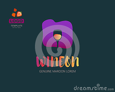 Vector Wine logo design idea with wineglass in negative space. Abstract winery sign.