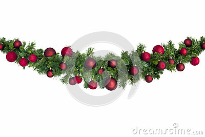 Christmas Garland with Red Baubles