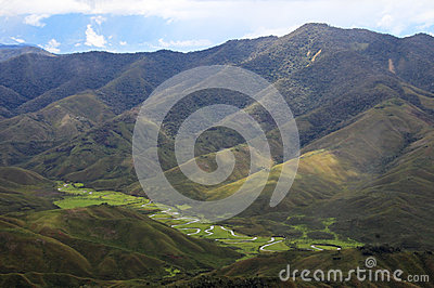 River meandering in Huaylla Belen Valley, northern Peru