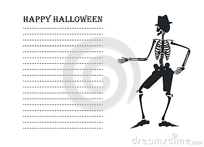 Vector image with silhouette of skeleton