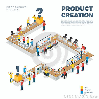 Flat isometric product creation process vector 3d