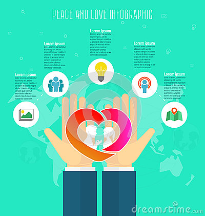 Love and peace concept, infographic template. Save love, hands holding red heart, people silhouette, abstract world map
