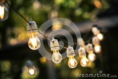 Outdoor string lights hanging on a line