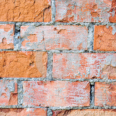 Red brick wall texture macro closeup, old aged detailed rough grunge cracked textured bricks copy space background, grungy