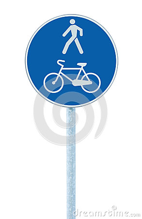 Bicycle and pedestrian lane road sign on pole post, large blue round isolated bike cycling and walking walkway footpath route