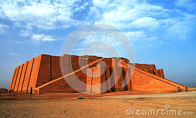 Restored ziggurat in ancient Ur, sumerian temple, Iraq