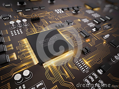 High tech electronic PCB (Printed circuit board) with processor, microchips and glowing digital electronic signals