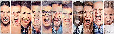stock image of angry people screaming. group of men women frustrated shouting