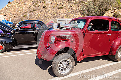 Red 1951 Ford Anglia Coupe