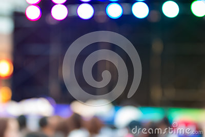 Blurred background : Bokeh lighting in stage with Dance showbiz