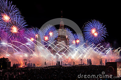 Moscow International Festival Circle of light. Pyrotechnic fireworks show on Moscow State University