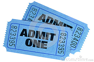 Two blue admit one tickets