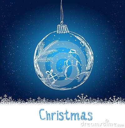Shiny Xmas ball with snowman for Merry Christmas celebration on dark blue background with snowflakes. Hand drawn.