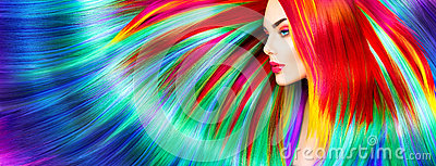 Beauty model girl with colorful dyed hair