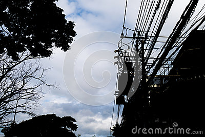 Silhouette, electric pole with have one transformers
