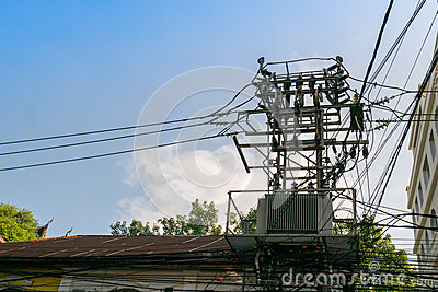 Electric pole with have one transformers