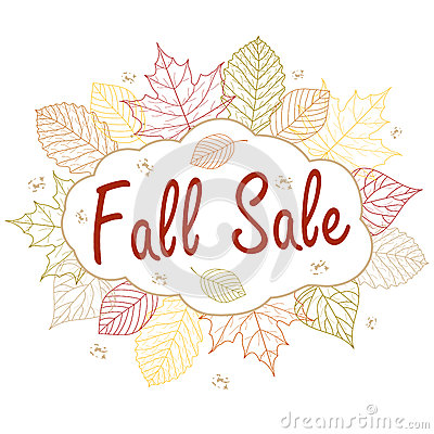Hand drawn illustration. Background with Fall leaves. Forest design elements. Fall sale.