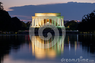 The Lincoln Memorial and the Reflecting Pool in Washington illum