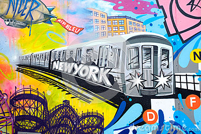 Colorful graffiti in New York City with an image of a subway tra