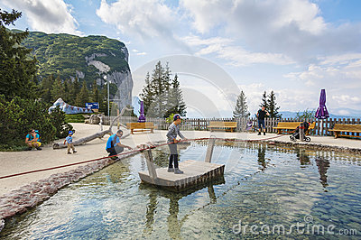 Entertainment and adventure at Triassic Parc Beach on Steinplatte, Austria