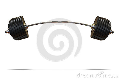 Bent or curved black barbell for strength training